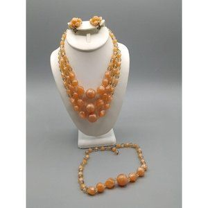 Vintage Peach Moonglow Parure, Double Strand Beads